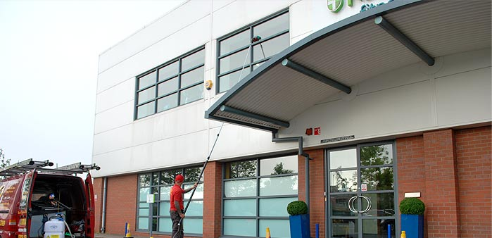 Cleaning the front windows at Nuffield Health